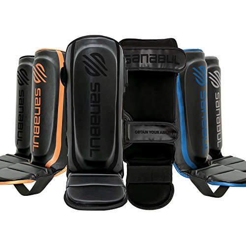 Sanabul Essential Hook and Loop Strap Kickboxing Muay Thai MMA Shin Guards (Black, S/M)