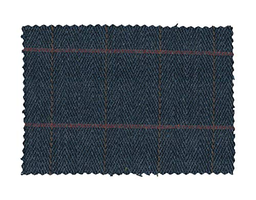 Walker and Hawkes - Tweed Fabric Cloth 60% Wool Checkered - Blue Tweed - 39.4 x 59 in (3.28 ft)