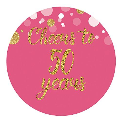 MAGJUCHE Pink 50th Birthday or Anniversary Stickers, Gold Glitter Women Cheers to 50 Years Party Favors Sticker Labels, 2 Inch, 40-Pack (50th Birthday Stickers)