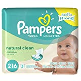 Pampers Natural Clean Wipes 3x Refill, 216-Count