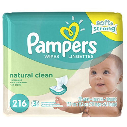 Pampers Natural Clean Baby Wipes - Unscented - 216 ct