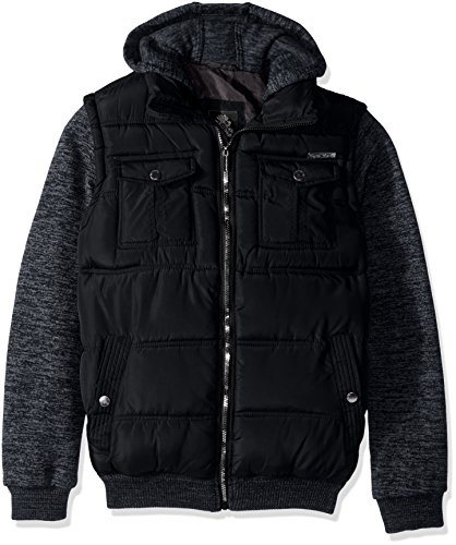 English Laundry Men's Quilted Bomber Jacket With Sweater Fleece Sleeves and Hood, Black, XL by English Laundry