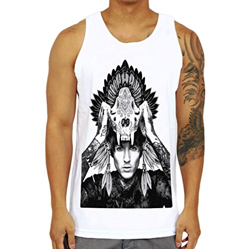 Mazumi8 Bring me the horizon oliver Sykes Skull indian Hat Tank Top Size XL - Oliver T-shirt Sykes