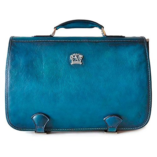 Pratesi Mens [Personalized Initials Embossing] Italian Leather Bruce Secchieta Business Messenger Bag In Cow Leather Blue by Pratesi