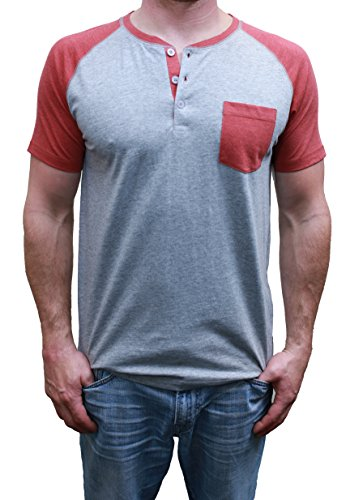 Short Sleeve Mens Raglan Henley TShirt w / Pocket, Premium Heather / Burgundy Heather, Large