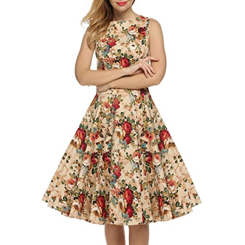 Taore Women's Vintage A-Line Audrey Hepburn 1950s Sleeveless Floral Big Bottom Swing Dress Picnic Party Cocktail Dress (L, Yellow) Pique A-line Dress