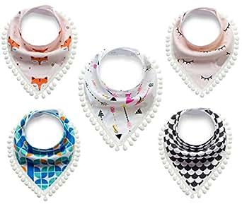 Baby Bandana Drool Bibs Unisex Triangular Bib for Drooling Teething and Feeding 5 Pack (Mixed 5 Styles)