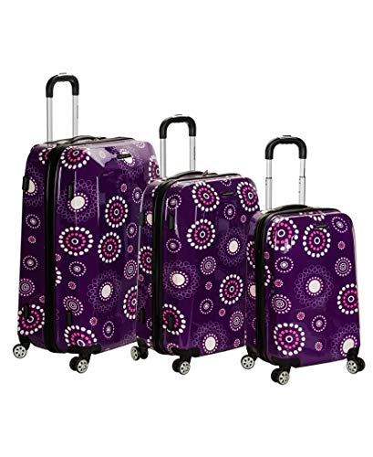 Rockland Luggage Vision Polycarbonate 3 Piece Luggage Set, Purple Pearl, One Size ()