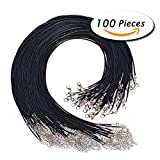 """Arts & Crafts : Paxcoo 100PCS 2.0mm Black Waxed Necklace Cord Bulk with Clasp for Jewelry Making (18"""")"""