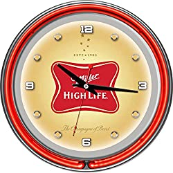 Miller High Life Chrome Double Ring Neon Clock, 14