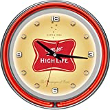 """Miller High Life Chrome Double Ring Neon Clock, 14"""""""