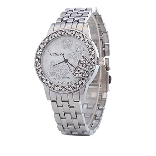 (Bling Jewelry Stainless Steel Back Crystal Butterfly Womens Fashion Watch Silver)