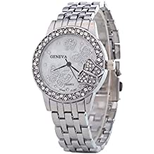 Bling Jewelry Stainless Steel Back Crystal Butterfly Womens Fashion Watch Silver