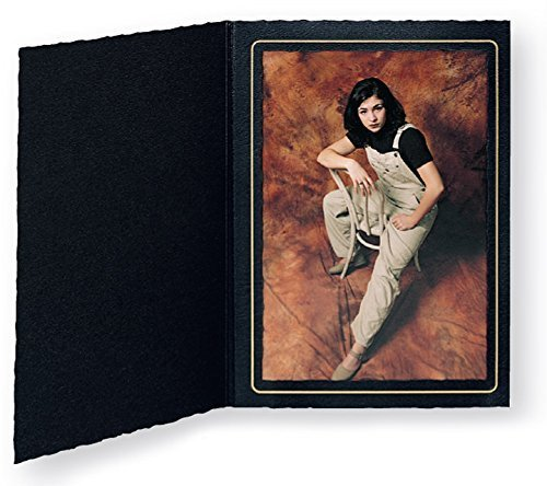 Cardboard Photo Folder for a 8x10 Photo - Black Waffled with Gold Border - Pack of 50