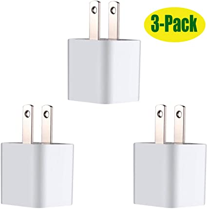 Wall Charger Cube Power Adapter Plug Charging Block for All iPhones,iPad Mini 2/3/4, iPod Touch (3 Pack)