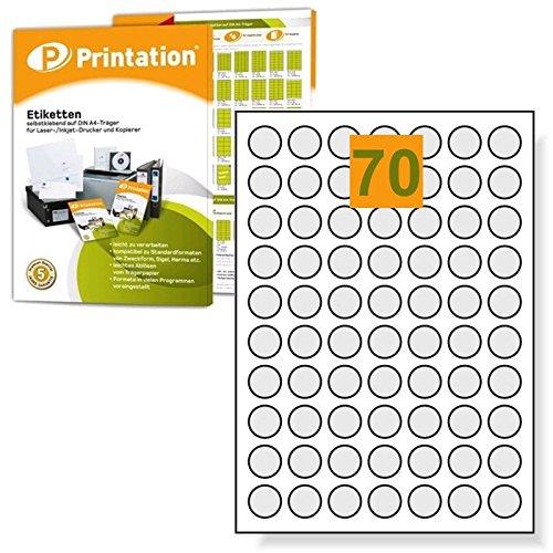 Etichette universali 24mm rotondi, diametro 7000marcatura punti arco autoadesive, stampabile–100DIN A4con 24mm Labels rotondo Printation 1558525-GP