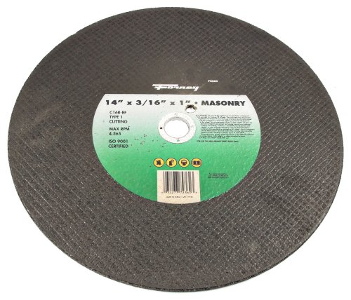 Forney 72360 Chop Saw Blade, Walk Behind Road Saw, Type 1 Masonry and Asphalt with 1-Inch Arbor, C16R-BF , (Gas Walk Behind Saw)