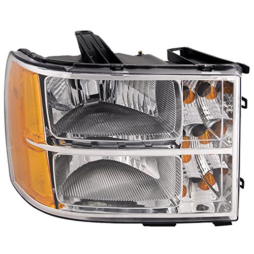 Headlights Depot Replacement for GMC Sierra 1500-3500/1500 Hybrid Passenger Side Headlight New