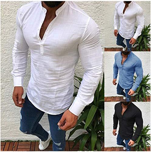 Mens Long Sleeve Linen Shirts Henleys Button Shirt Standing Collar Round Neck Shirt Top White