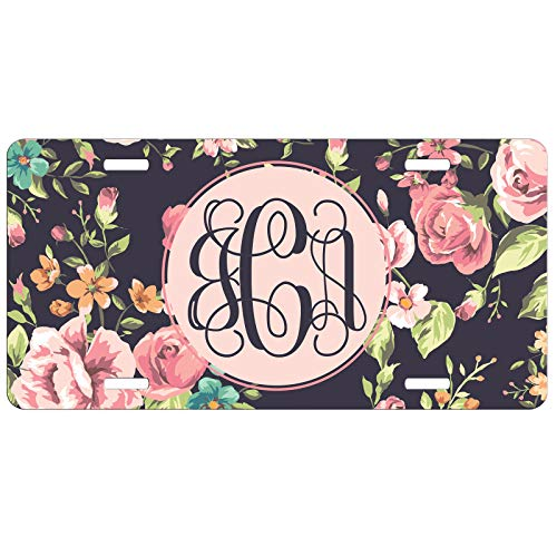 Simply Customized Personalized License Plate Monogram Floral Roses License Plate Car Auto Tag Aluminum PLP