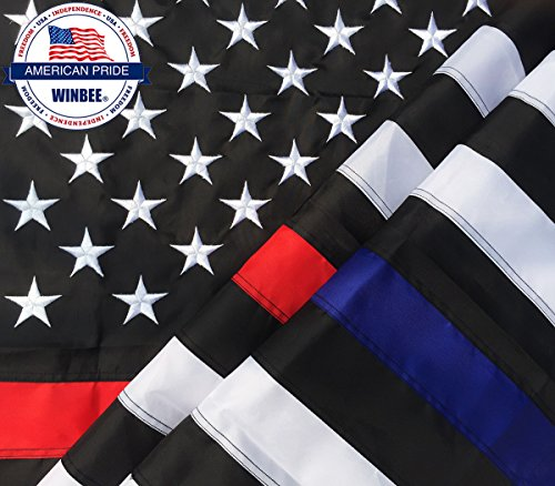 Thin Blue Line and Thin Red Line Flag 3x5 ft with Embroidered Stars and Sewn Stripes, Long Lasting Nylon, UV Protection Perfect for Outdoors