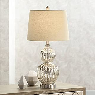 Lili Cottage Table Lamp Silver Mercury Glass Fluted Double Gourd Beige Tapered Drum Shade for Living Room Family Bedroom - Regency Hill