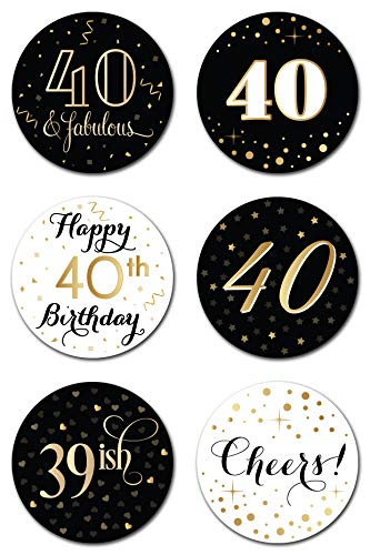 40th Birthday Party Favor Stickers (Pack of 324) - 40 Year Old Labels Decorations Supplies - Gold, Black and White