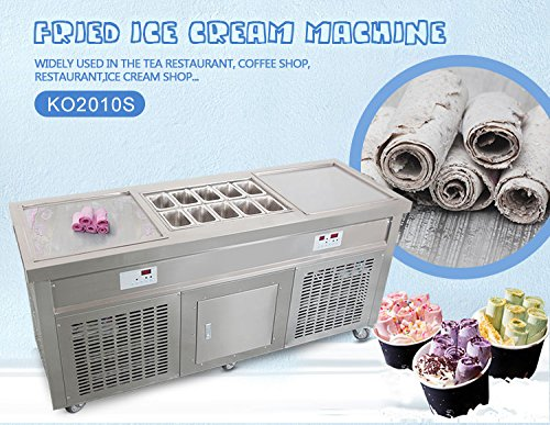 Free shipment USA snack food carts double square pans fried ice cream machine roll ice cream machine fry ice cream roll machine with 10 pre-cooling buckets, auto defrost, cooling cabinet