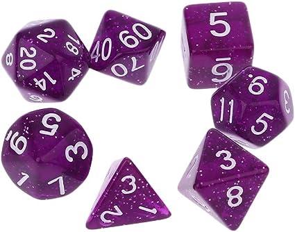 Purple 7 Sided Die D4 D6 D8 D10 D12 D20 DUNGEONS/&DRAGONS D/&D RPG Dice Game Set
