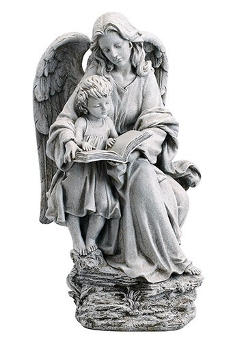 Angel Guardian Angel and Child Garden Statue 19''H, Stoneresin - Avalon Gallery - YD076