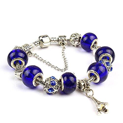 """A TE® Charm Bracelet Swarovski Elements Crystal Bracelet Murano Glass Beads 7.8"""" B15"""