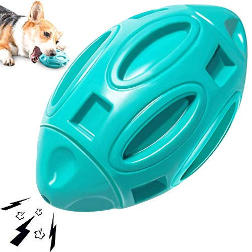 SHANFEEK Dog Toys for Aggressive Chewers Medium Large Breed Indestructible Tough Durable Squeaky Interactive Natural Rubber Dog Balls Puppy Teething Chew Toys-Blue