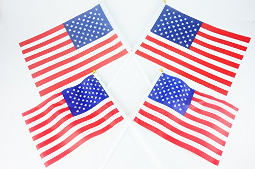 [Handheld Polyester Waving American Flag 4PCS for NO.7 NO.8] (Confederate Flag Halloween Costume)