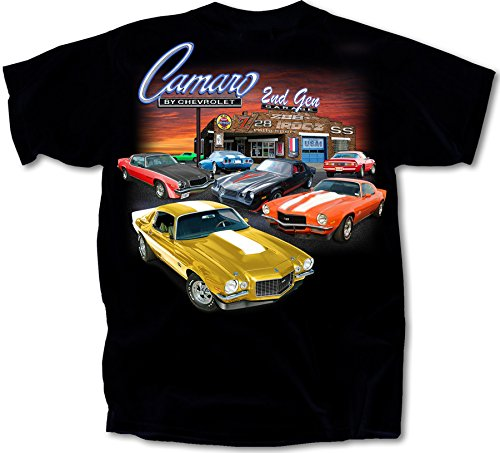 1970 - 1981 Chevy Camaro 2nd Gen Garage T-Shirt Cotton Preshrunk -By Joe Blow T's, Black, Large ()
