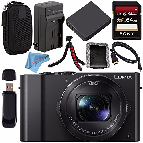 (Panasonic Lumix DMC-LX10 DMC-LX10K Digital Camera + DMW-BLH7 Lithium Ion Battery + Charger + Sony 64GB SDXC Card + Case + Flexible Tripod + HDMI Cable + Memory Card Wallet + Fibercloth Bundle)
