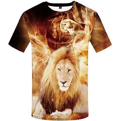 KYKU Lion Shirts for Men Short Sleeve 3D Print T Shirt Animal Funny Graphic Tees (Medium)