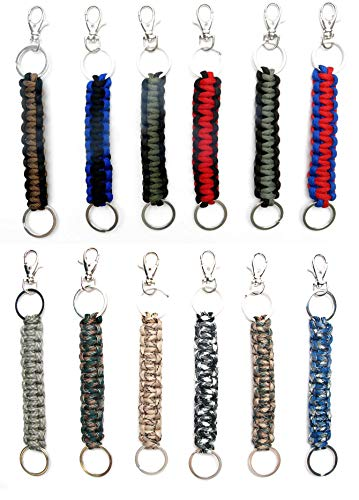 - Paracord Keychain Keyrings 12 Pack for Men Boys Women Girls Teens | Key Keeper Party Favors | Handmade Cobra Braid Key Fobs Braided with Genuine 550 lbs Parachute Cord | Frogsac USA Seller (Guys)