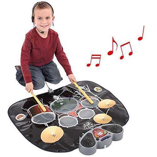 ArtCreativity Electronic Drum Set Playmat   Includes Drumsticks and Headphone Microphone   Excellent Party Favor and Gift Idea for Children Ages 3+ (Batteries Not ()