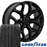 gmc sierra rims and tires - 20x9 Wheels & Tires Fit GMC Chevy Trucks - GMC Sierra Style Black Rims, Hollander 5668 - SET