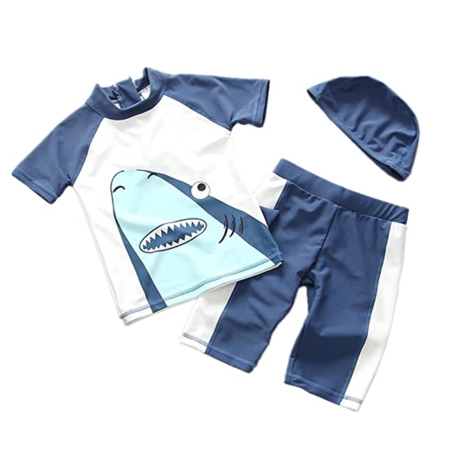 43456c5716 Toddler Baby Boy Swimsuit Two Pieces Long Sleeve Rashguard Sun Protective  Swimwear with Hat 1-