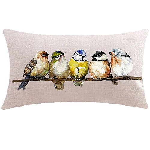 ITFRO Hand-painted Oil Painting Rustic Forest Wildlife Birds Tree Branches Waist Lumbar Cotton Linen Throw Pillow Case Cushion Cover Rectangular 12x20 inches -