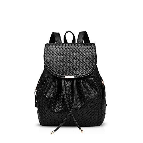 NICOLE&DORIS Fashion Women School College Travel Outdoor Shoulder Bag Backpack Waterproof Soft Weave PU Leather Black