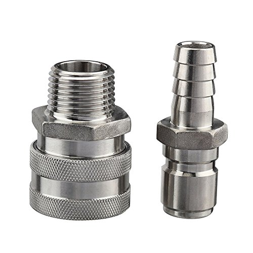 MRbrew Quick Disconnect 304 Stainless Steel Set 1/2 MPT Female 1/2 Male Barb (1/2 MPT Female,1/2 Male Barb)