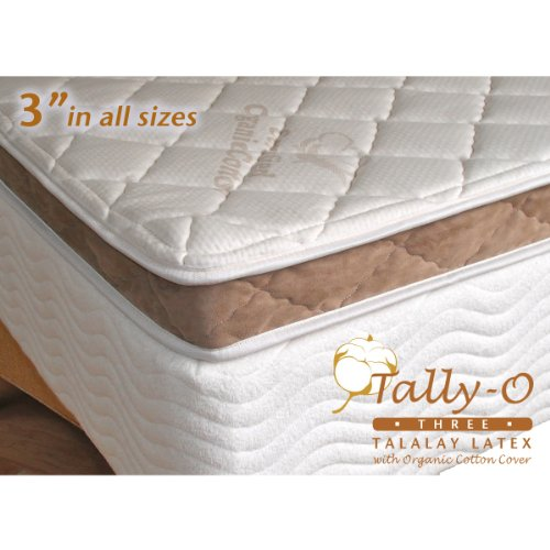 3 Inch Pure 32 ILD Talalay Latex Foam Mattress Pad with Organic Cotton Cloth Top – in Queen