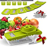 Mandoline Slicer, Coolcha Vegetable Grater & Julienne Slicer Cutter for Cucumber, Onion, Cheese With 7 Thickness Settings Interchangeable Stainless Steel Blades +Food Container - Mandolin