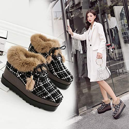 HRCxue Pumps Plateau-Schuhe mit dicken dicken dicken Sohlen und pelzigen Schuhen sowie Britische Stiefel mit Keilabsatz aus Samt, Grammfarbe, 38 7dc617