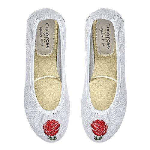 Scarpe Pieghevoli Cocorose - Ballerine Da Donna Barbican Tela Grigia E Rosa