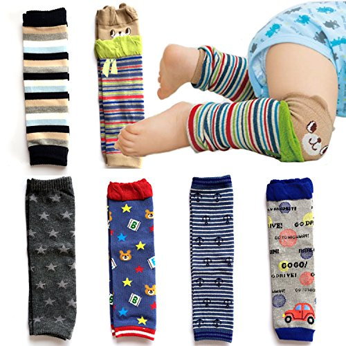 Elesa Miracle 6-pack Baby & Toddler Cozy Soft Leg Warmers, Kneepads, Gift Set for Boys & Girls, Navy, Stripes, Heart-shaped Dots (Boy Set)