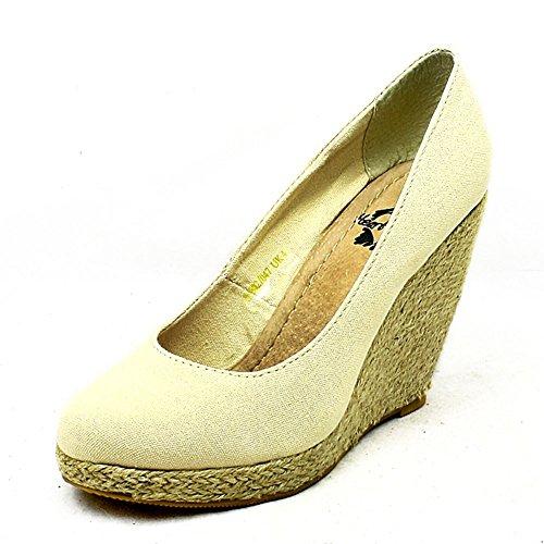 Ladies Canvas round toe wedge heel court shoes Beige sGjRf0HN