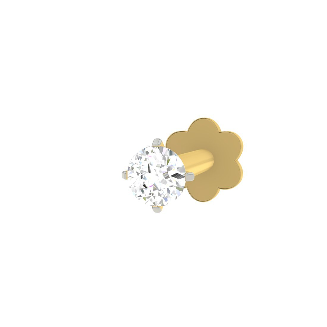Buy Tbz The Original Solitaire 18k Yellow Gold And Diamond Nosepin At Amazon In
